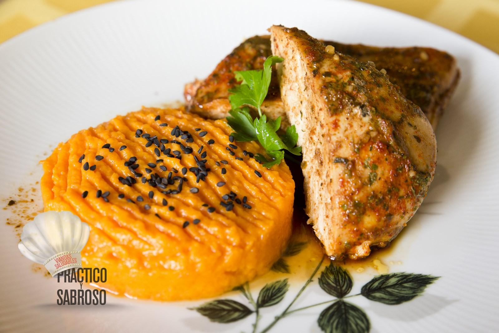 Suprema de pollo con pur de calabaza y otras guarniciones - Pure de patatas y calabaza ...